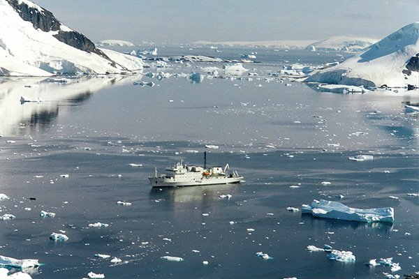 Image of a cruise ship in Antarctica.