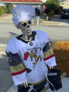 Skeleton Vegas Knight #75 The Muffin Man (ancestor of Reaves) displaying his baker's hat on his skull.