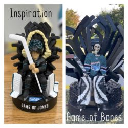 Side-by-side pictures of the San Jose Sharks Game of Jones bobblehead giveaway (the inspiration photo) and Megalodon goalie #31 Bones (ancestor of SJ Sharks goalie Jones) sitting on a throne made of goalie sticks and hockey pucks (the Halloween decoration)..