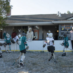 The Megalodons (ancestors of the San Jose Sharks) take on the Vegas Knights at the Boneyard in a Halloween skeleton hockey game.