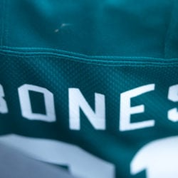 Close up of Megalodons #31 Bones's (ancestor of Jones) name on his jersey.