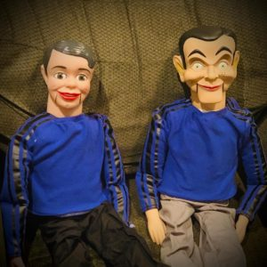 Ventriloquist dolls representing Ken Dryden and Al Michaels for a Halloween display.