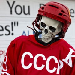 USSR skeleton team captain Mikhailov looking on in disbelief after his team lost the Halloween Miracle on Ice hockey game.