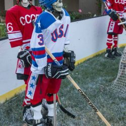 USA skeleton Morrow and USSR skeleton Petrov at the end of the Halloween Miracle on Ice hockey game.