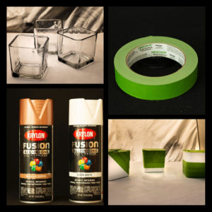 Supplies used to create cute and simple succulent pots (spray paint, glass candle holders, and painters tape).