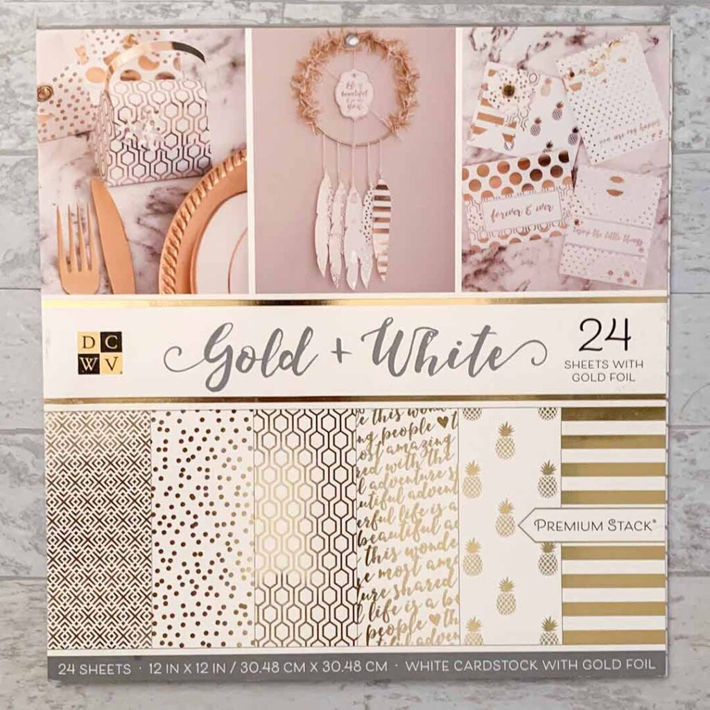 DCWV Gold + White Premium Stack of White Cardstock with Gold Foil used for the Graduation Banner