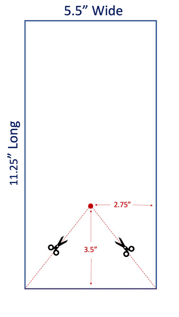 """Dimensions for cutting swallowtail-shaped banner (11.25"""" by 5.5"""")"""