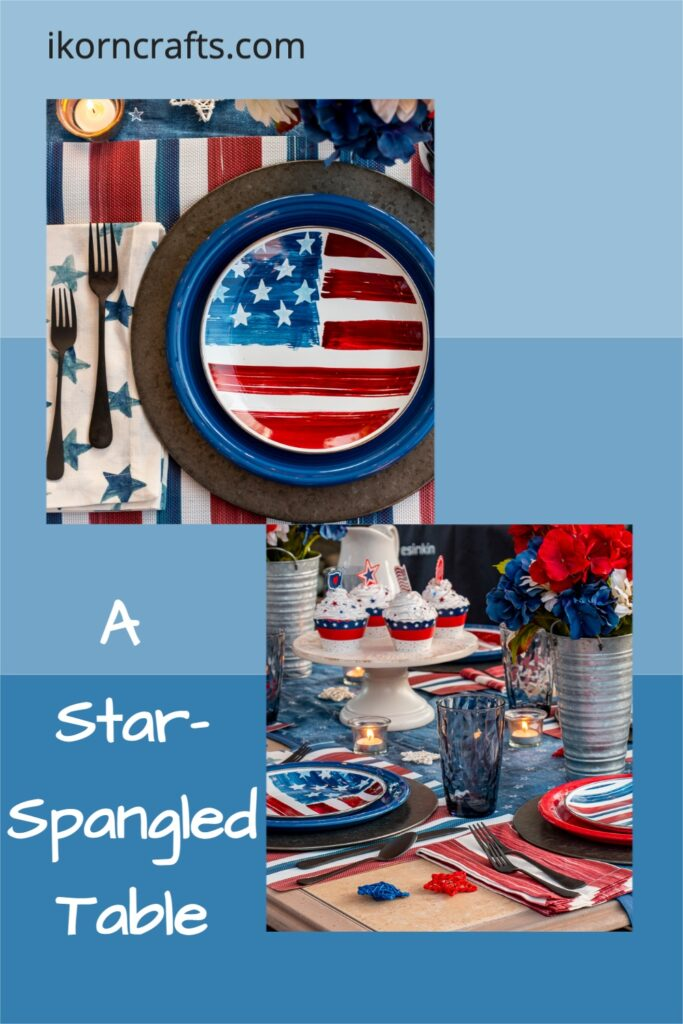 Patriotic table setting (stars and stripes enamel salad plates; red, white, & blue dinner plates; patriotic flowers in tin vases; and festive cupcakes).