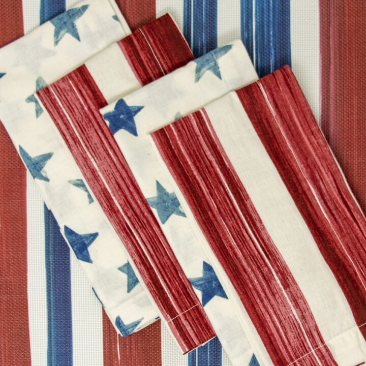 Red white and blue place mat and cloth napkins for 4th of July Table