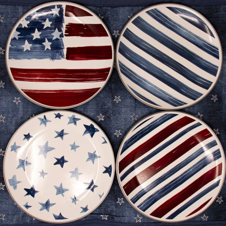 Four Americana Watercolor Enamel Salad Plates with stars and stripes for a 4th of July table