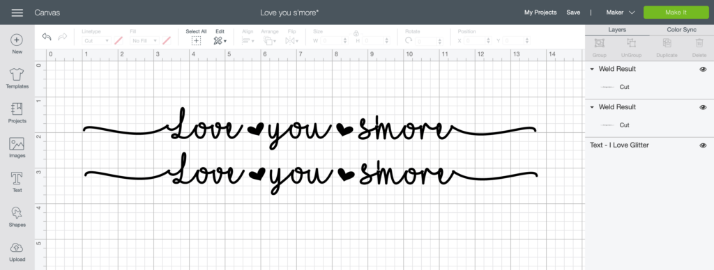 Screen Shot of Cricut Design Space showing Love You S'more design with welded font