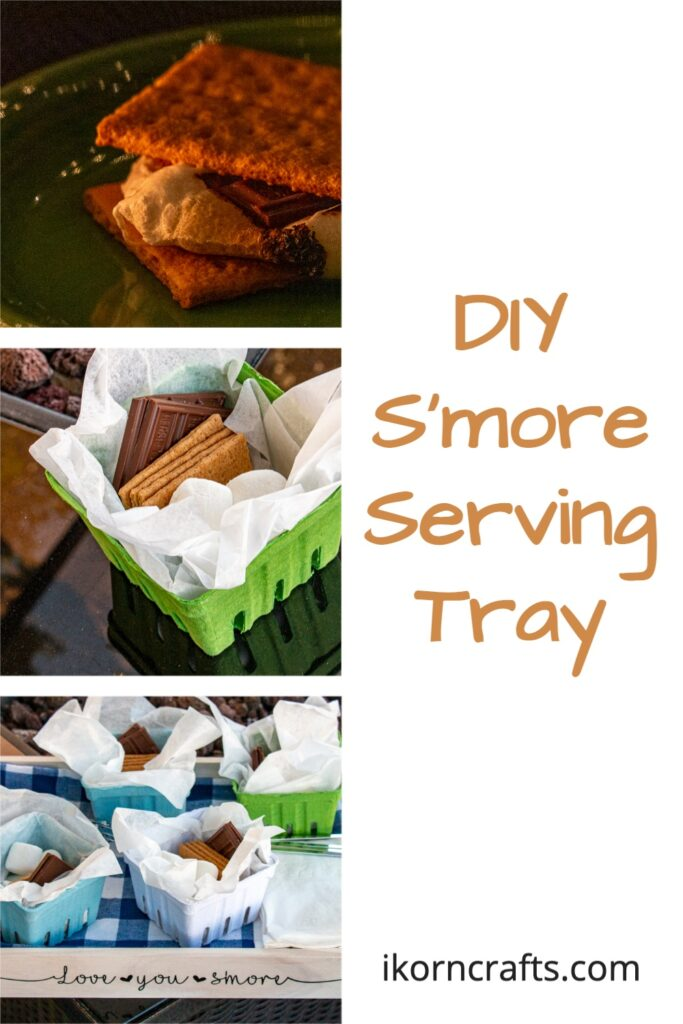 Series of 3 images. The first shows a complete gooey s'more. The second is an individual service s'more kit with chocolate, marshmallows, and graham crackers. The third shows the Love You S'mores serving tray with s'more kits, napkins, and roasting sticks.