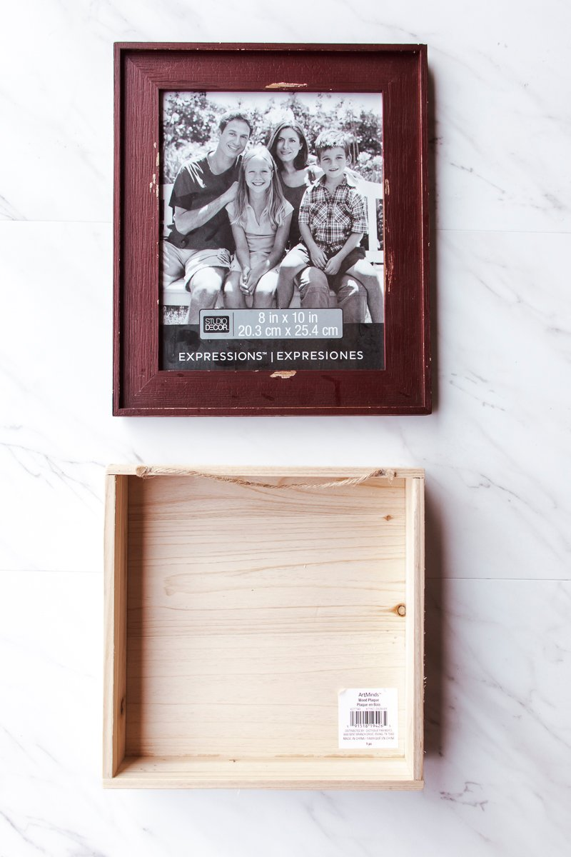 Picture of a rustic picture frame and basic wood box, which are used to make the living wall.