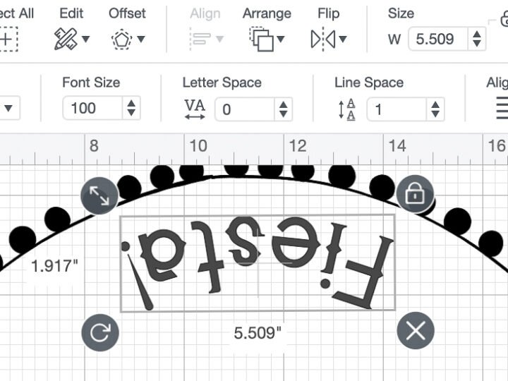 """Screen shot of Cricut Design space showing the 5.509"""" by 1.917"""" dimensions of the Fiesta! text portion of the stencil."""
