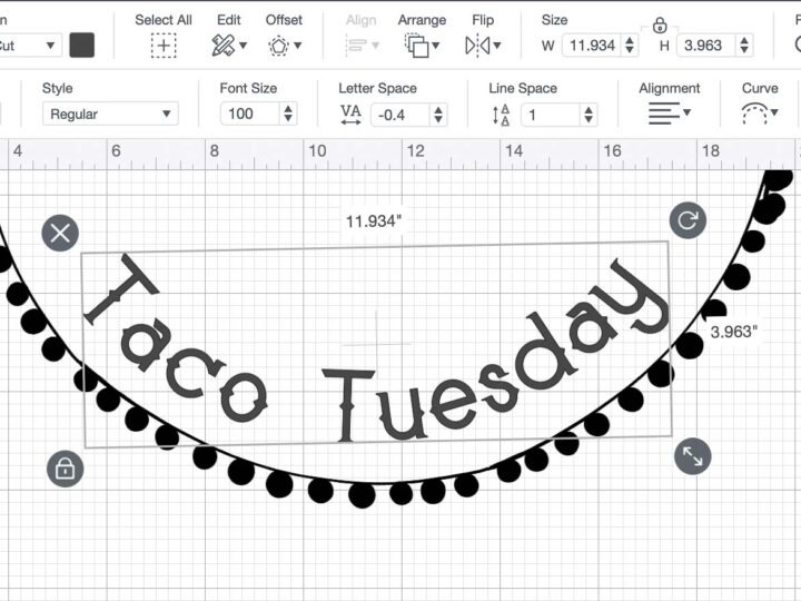 """Screen shot of Cricut Design space showing the 11.934"""" by 3.963"""" dimensions of the Taco Tuesday text portion of the stencil."""