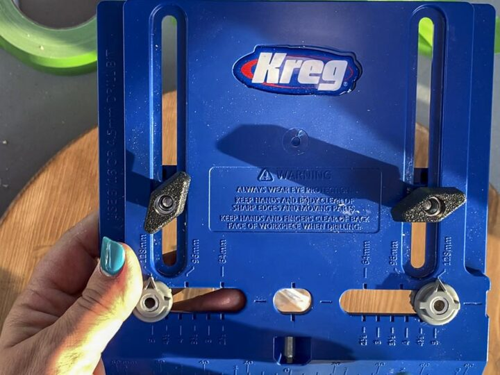 Kreg Tools Cabinet Hardware Jig used to place and drill holes for the taco tray handles.