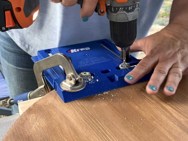 Drilling holes in the wood taco tray using the Kreg Tools Cabinet Hardware Jig.