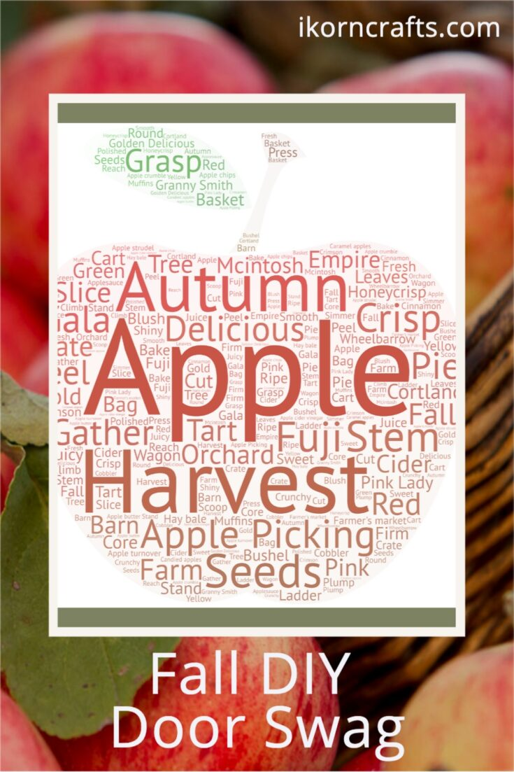 Word cloud of apple harvest related words in the shape of an apple.