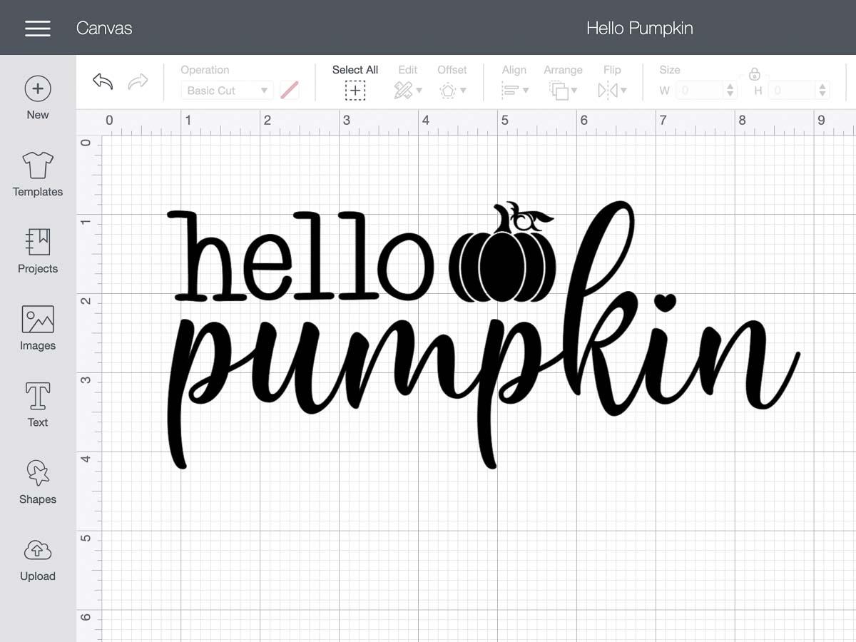 "Screen shot of Cricut design space showing a ""Hello Pumpkin"" graphic design by GreatLakesDigitals"